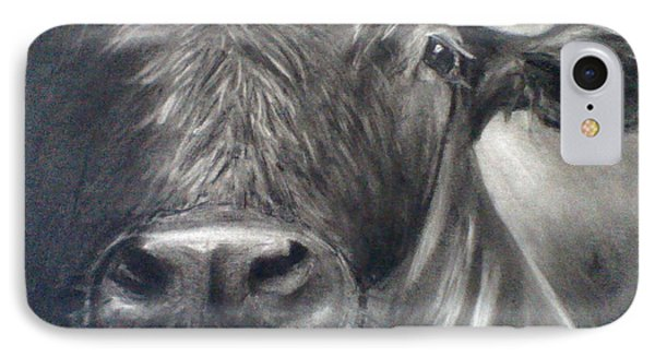 IPhone Case featuring the drawing Cow View by J L Zarek