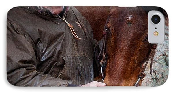 Cowboy And His Horse IPhone Case by Steven Reed