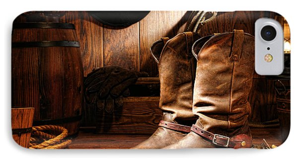 Cowboy Boots In A Ranch Barn Phone Case by Olivier Le Queinec