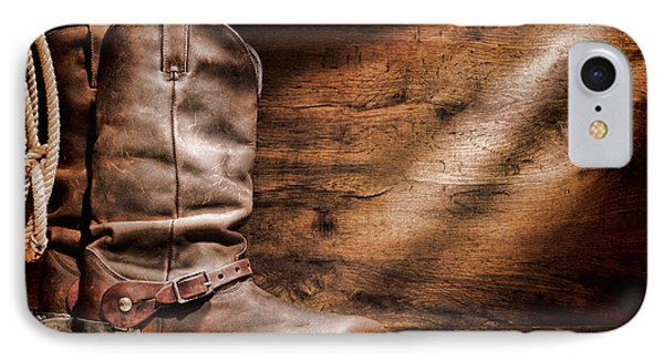 Cowboy Boots On Wood Floor Phone Case by Olivier Le Queinec