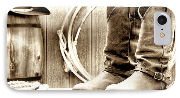 Cowboy Boots Outside Saloon Phone Case by Olivier Le Queinec