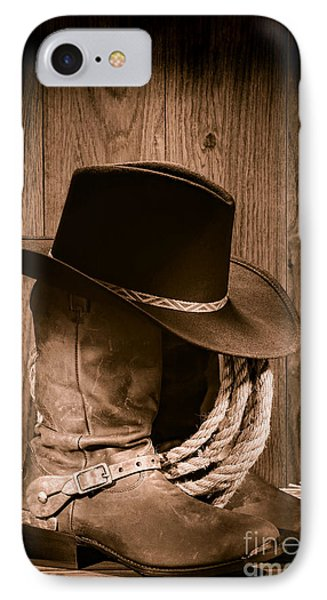 Universities iPhone 7 Case - Cowboy Hat And Boots by Olivier Le Queinec