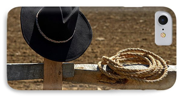 Cowboy Hat And Rope On Fence Phone Case by Olivier Le Queinec