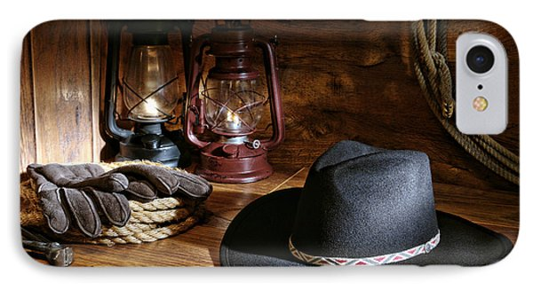 Cowboy Hat And Tools IPhone Case by Olivier Le Queinec