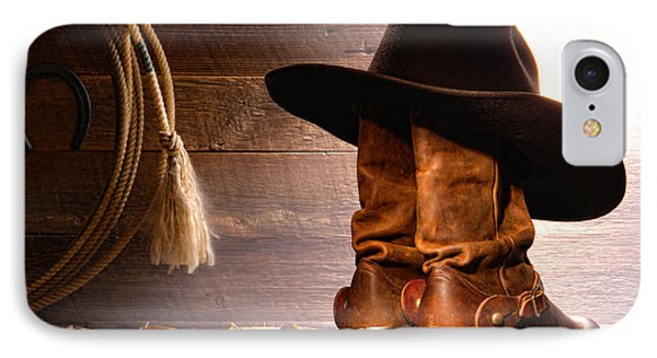Cowboy Hat On Boots Phone Case by Olivier Le Queinec