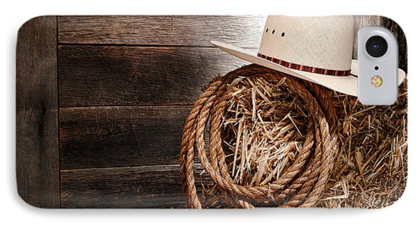 Cowboy Hat On Hay Bale Phone Case by Olivier Le Queinec
