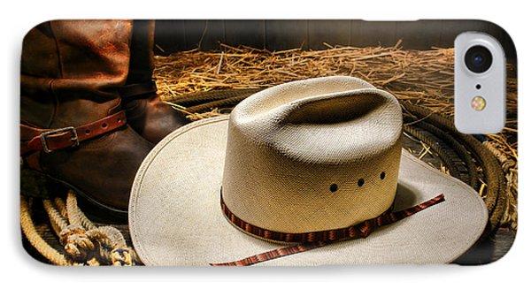 Cowboy Hat On Lasso Phone Case by Olivier Le Queinec