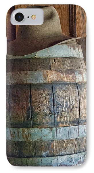 Cowboy Hat On Old Wooden Keg IPhone Case by Juli Scalzi