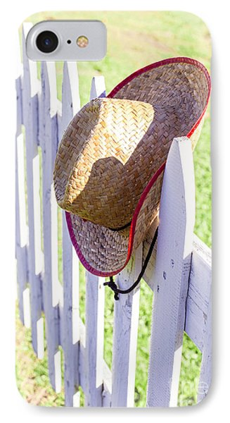 Cowboy Hat On Picket Fence IPhone Case by Edward Fielding