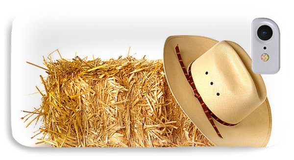 Cowboy Hat On Straw Bale Phone Case by Olivier Le Queinec