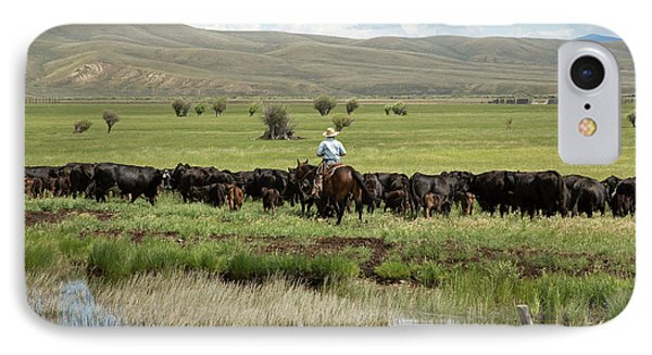 Cowboy Herding On A Cattle Ranch IPhone Case by Jim West