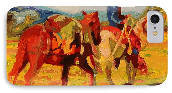 IPhone Case featuring the painting Cowboy Art Cowboy Leading Pack Horse Painting Bertram Poole by Thomas Bertram POOLE