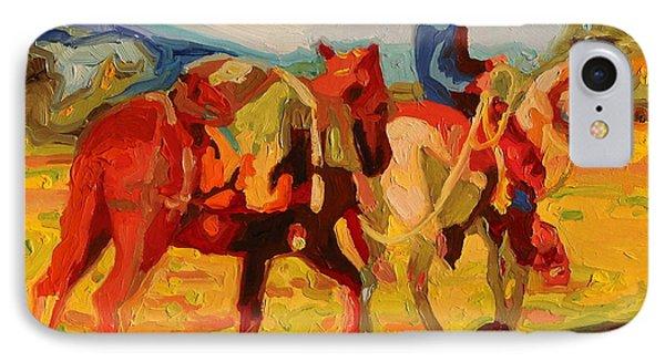 Cowboy Art Cowboy Leading Pack Horse Painting Bertram Poole IPhone Case