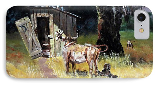 Cowboy On The Outhouse  IPhone Case by Lee Piper