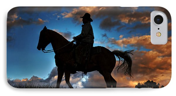 IPhone Case featuring the photograph Cowboy Silhouette by Ken Smith