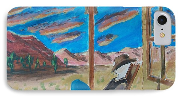 Cowboy Sitting In Chair At Sundown Phone Case by John Lyes
