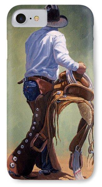 Cowboy With Saddle Phone Case by Randy Follis