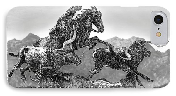 Cowboys And Longhorns Phone Case by Jack Pumphrey