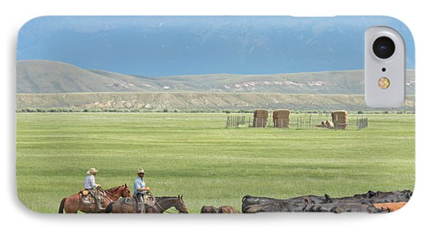 Cowboys Herding On A Cattle Ranch IPhone Case by Jim West