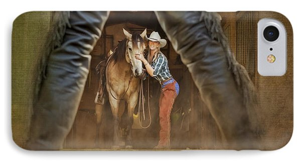 Cowgirl And Cowboy Phone Case by Susan Candelario
