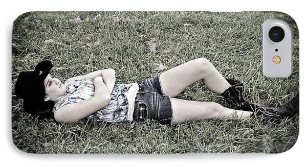 Cowgirl In Clover Phone Case by Susan Leggett