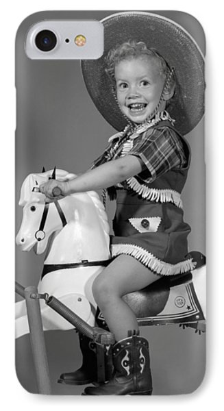 Cowgirl On Rocking Horse, C.1950s IPhone Case by B. Taylor/ClassicStock
