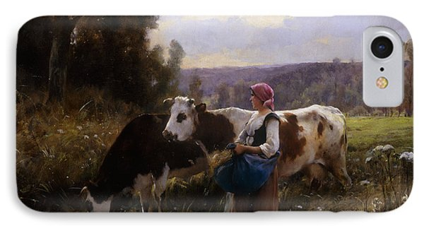 Cows At The Watering Hole Phone Case by Julien Dupre