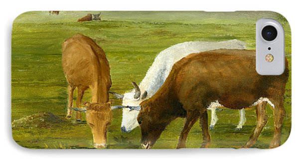 IPhone Case featuring the painting Cows Gossip Session In Louisiana Pasture by Lenora  De Lude