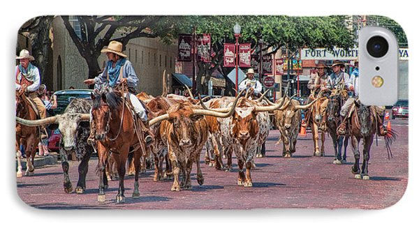 Cowtown Cattle Drive IPhone Case by David and Carol Kelly