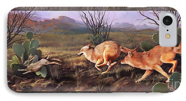 IPhone Case featuring the painting Coyote Run With Boarder by Rob Corsetti