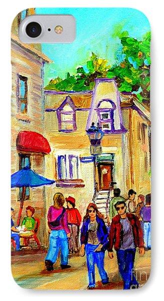 Cozy Dinner Under Blue Umbrella Summer Stroll Prince Arthur Montreal Paintings Carole Spandau Phone Case by Carole Spandau
