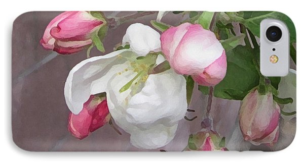 IPhone Case featuring the digital art Crabapple Blossoms Miniature by Donald S Hall