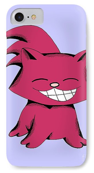 IPhone Case featuring the drawing Cranberry Cat Giggling by Pet Serrano