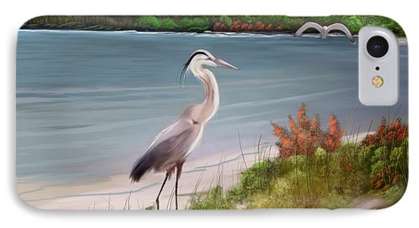 Crane By The Sea Shore IPhone Case by Anthony Fishburne