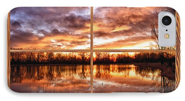 Crane Hollow Sunrise Barn Wood Picture Window Frame View Phone Case by James BO  Insogna