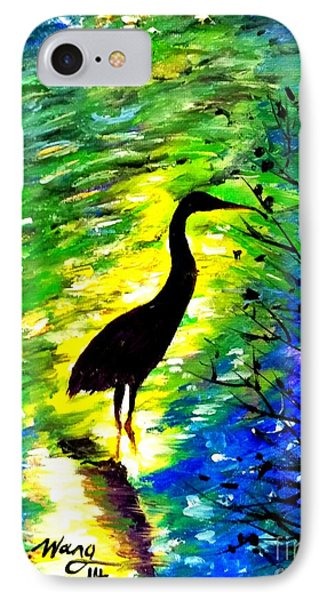 Crane In Lake IPhone Case by Rose Wang
