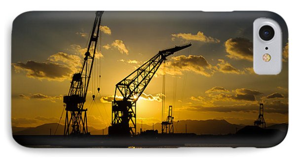 Cranes In The Sunset Phone Case by David Hill