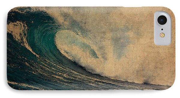 Crashing Ocean Waves Rough Seas No 1 Watercolor On Worn Parchment IPhone Case by Design Turnpike