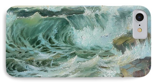 IPhone Case featuring the painting Crashing Waves by Lori Ippolito