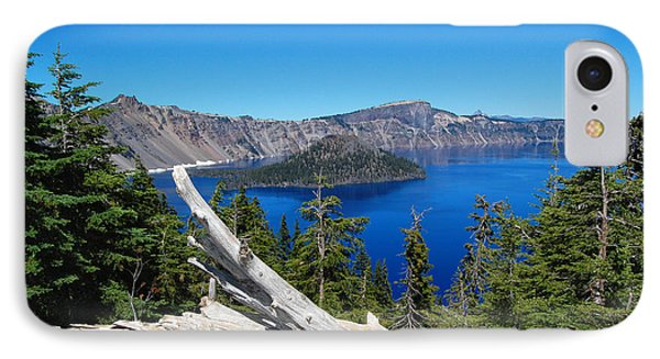 Crater Lake And Fallen Tree IPhone Case by Debra Thompson
