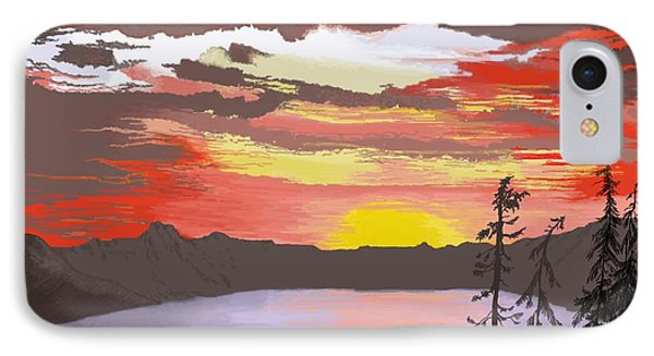 IPhone Case featuring the digital art Crater Lake by Terry Frederick