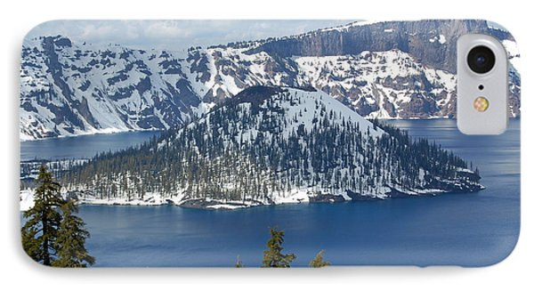 IPhone Case featuring the photograph Crater Lake With Snow by Debra Thompson
