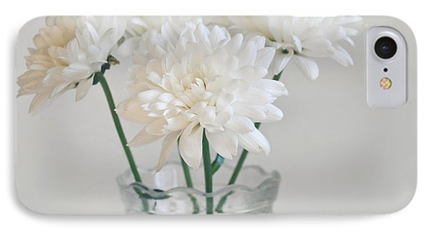 Creamy White Flowers In Tall Vase Phone Case by Lyn Randle