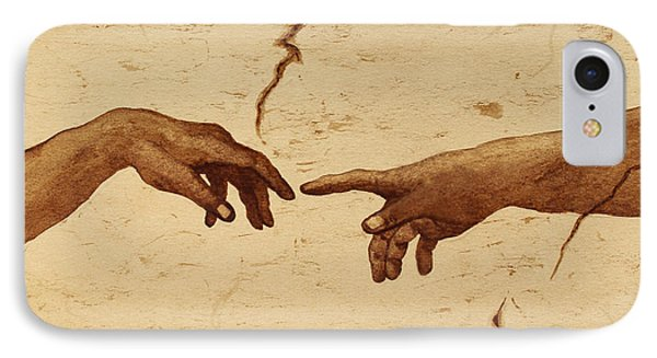 Creation Of Adam Hands A Study Coffee Painting Phone Case by Georgeta  Blanaru