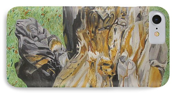 IPhone Case featuring the painting Creatures Of The Stumps by Hilda and Jose Garrancho