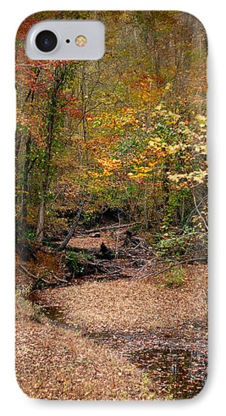 Creek Bed In Autumn - Fall Landscape IPhone Case by Jai Johnson