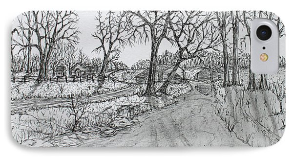 IPhone Case featuring the drawing Creekside Road by Jack G  Brauer