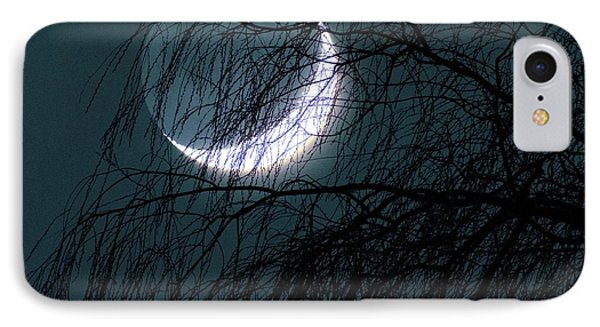 Crescent Moon Behind A Tree IPhone Case by Detlev Van Ravenswaay