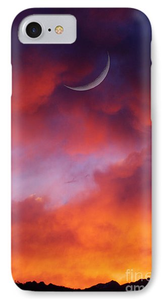 IPhone Case featuring the photograph Crescent Moon In Purple by Joseph J Stevens