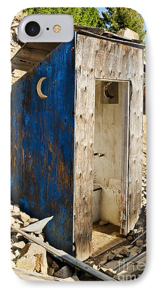IPhone Case featuring the photograph Crescent Moon Outhouse by Sue Smith